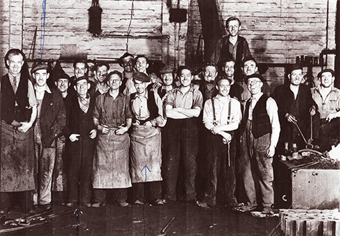 Archive photo of workers at Mercantile Dry Dock at Jarrow, circa 1955