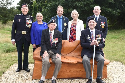 The Chairman of Jarrow Normandy Veterans, Bob Douglass, Cllr Fay Cunningham, the Mayor and Mayoress of South Tyneside, Cllr Alan and Moira Smith, Cllr Peter Boyack pictured with Randall Oliver and Jimmy Green.
