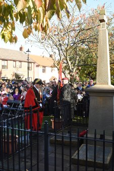The Mayor of South Tyneside, Cllr Alan Smith, pays his respects at the war memorial in Monkton Village on Armistice Day