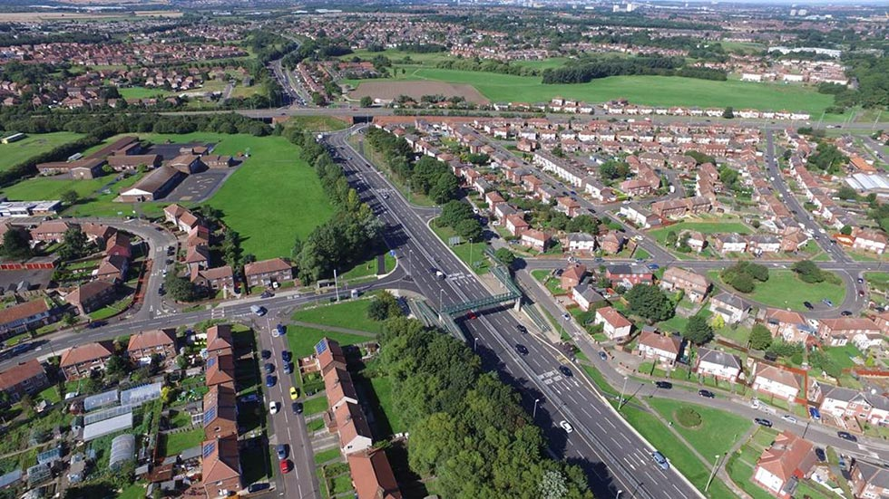 Aerial view of Lindisfarne Roundabout (A194) after the improvements have taken place