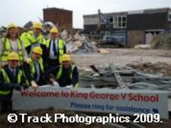 Bulldozers Move In On School Site King George V School (Closed)