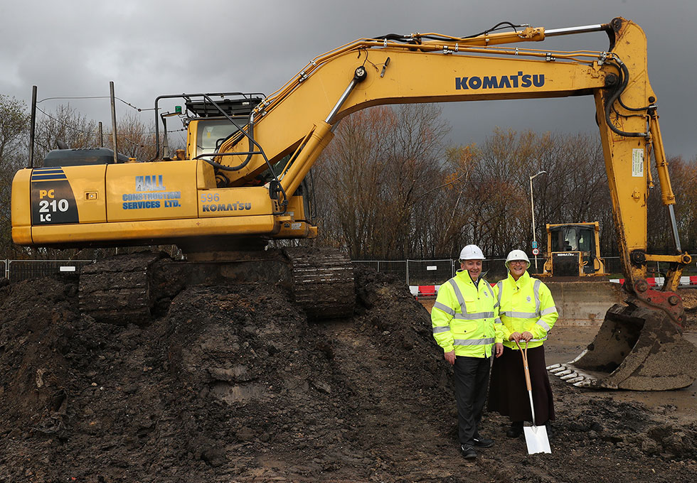 Councillor Ed Malcolm and Councillor Joan Atkinson attending the site during first 2 weeks of construction