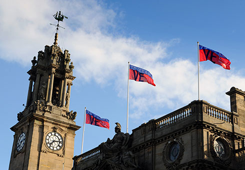South Shields Town Hall flying VE day flags