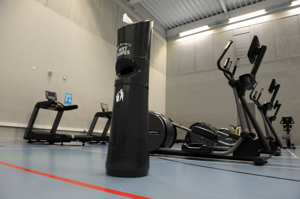 Hebburn Central gym (in sports hall) antibacterial wipes are available